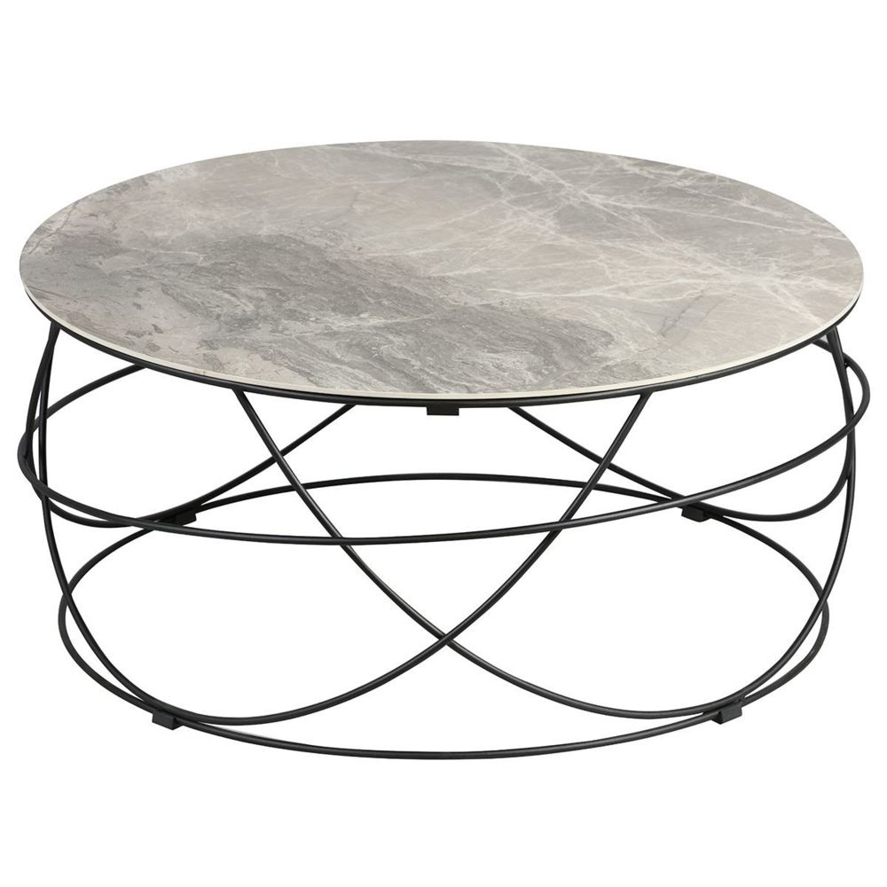 Altobuy Cathleen - Table Basse Ronde Plateau Céramique