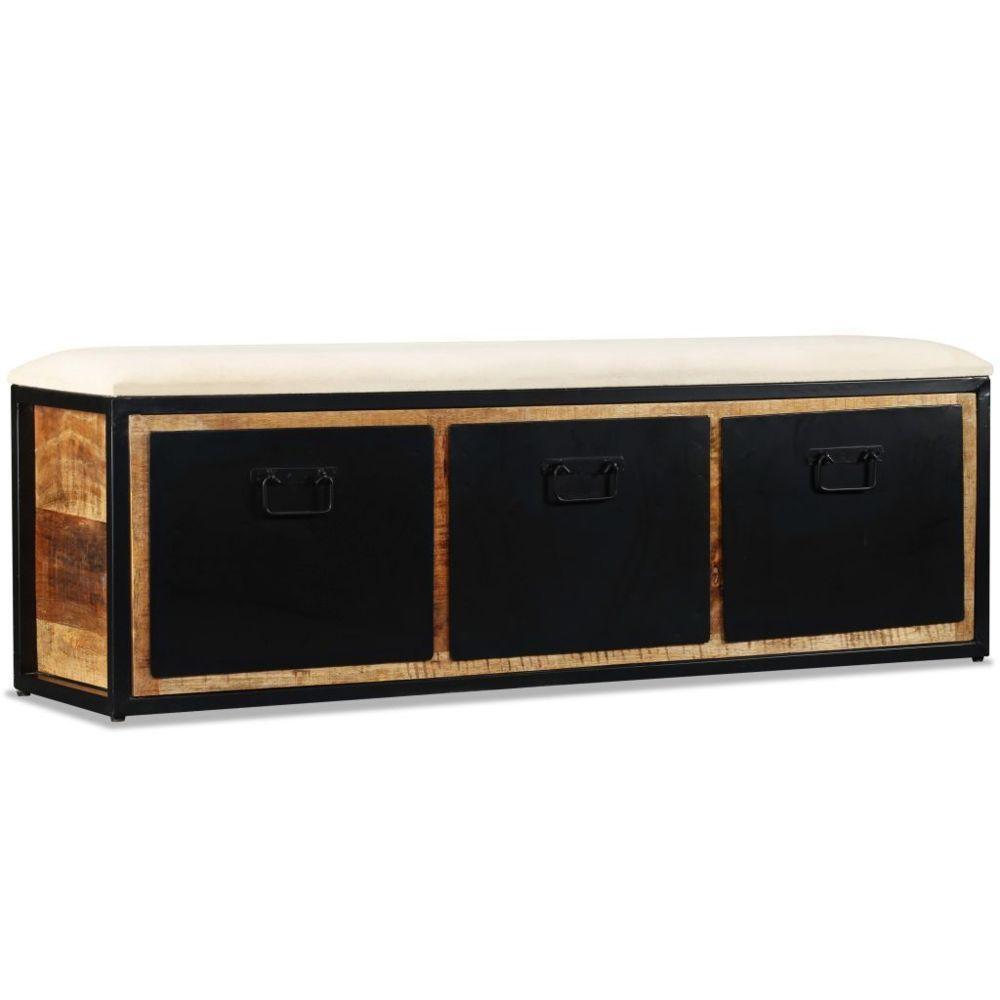 Helloshop26 Banquette pouf tabouret meuble banc de rangement avec 3 tiroirs bois de manguier 120 cm 3002036