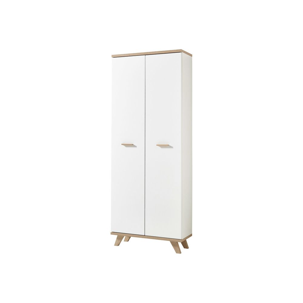 GERMANIA Grande armoire de rangement scandinave en bois blanc (chêne) OSLO