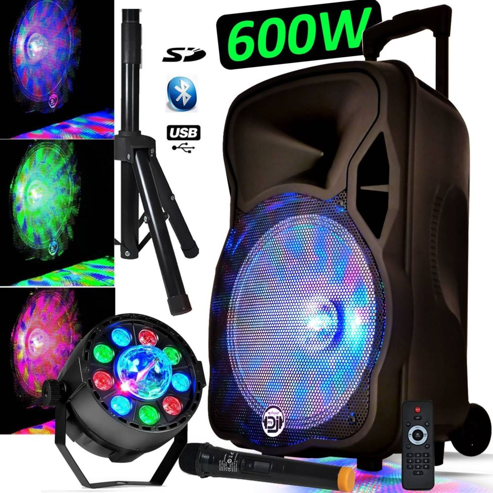 My Deejay Enceinte sur Batterie PARTY 12   600W Karaoké Ampoule intégrée Dj PA MyDj MAGIK à LED + Projecteur