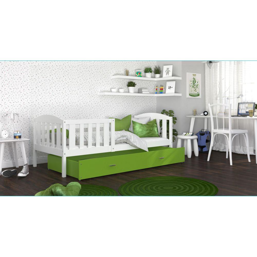 Kids Literie Lit enfant Téo 90x190 blanc vert livré avec tiroir, sommier et matelas en mousse de 7cm offert