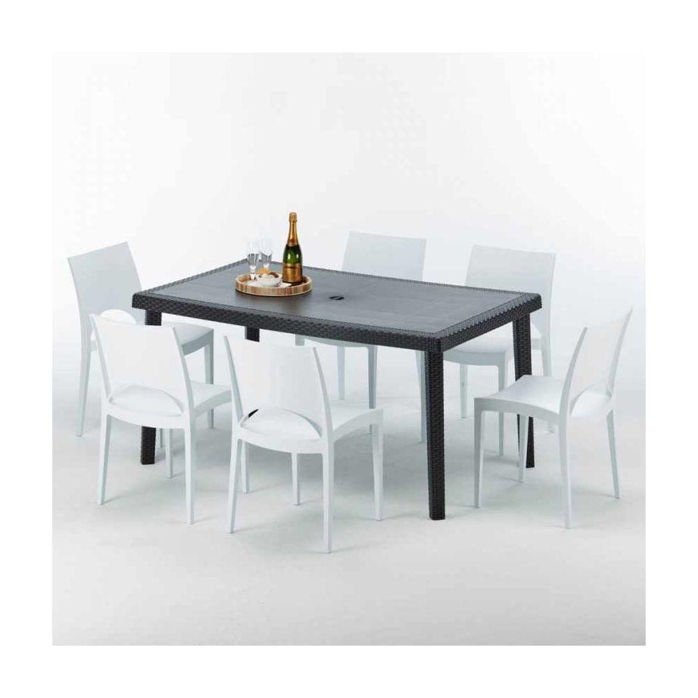 Grand Soleil Table rectangulaire et 6 chaises Poly rotin colorées 150x90cm noir Enjoy, Chaises Modèle: Paris Blanc