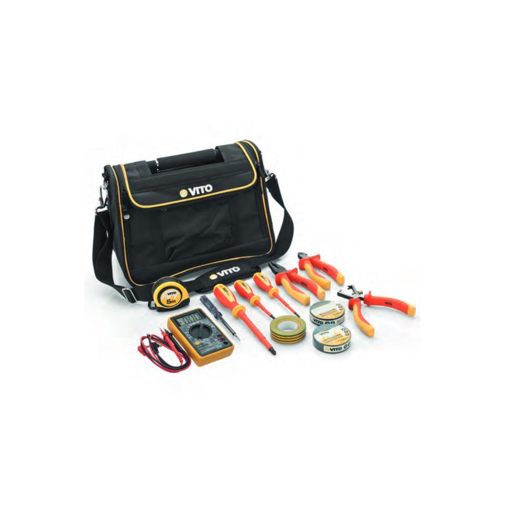 Vito Pro-Power Boite à outils sacoche électricien VITO 12 pièces Poignée acier renforcée Nylon haute Qualité Sac bandoulière