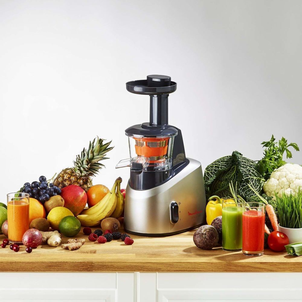Moulinex extracteur de jus pour Fruits et Légumes 82 tours/minute 200W gris noir
