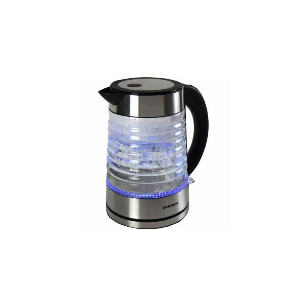 Syntrox Germany Bouilloire en verre sans fil en acier inoxydable de 1,7L avec lumière bleu