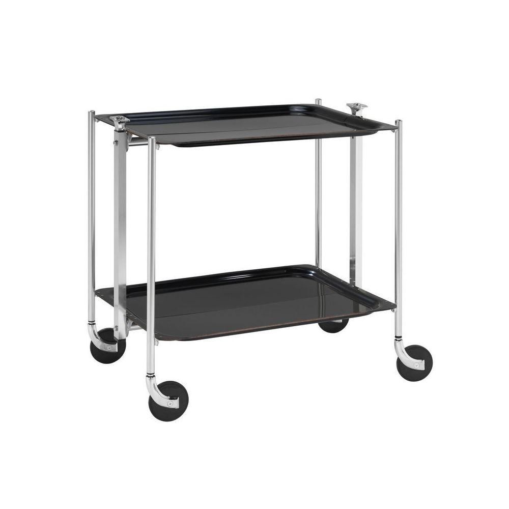 Platex Table roulante pliable noire avec 2 plateaux