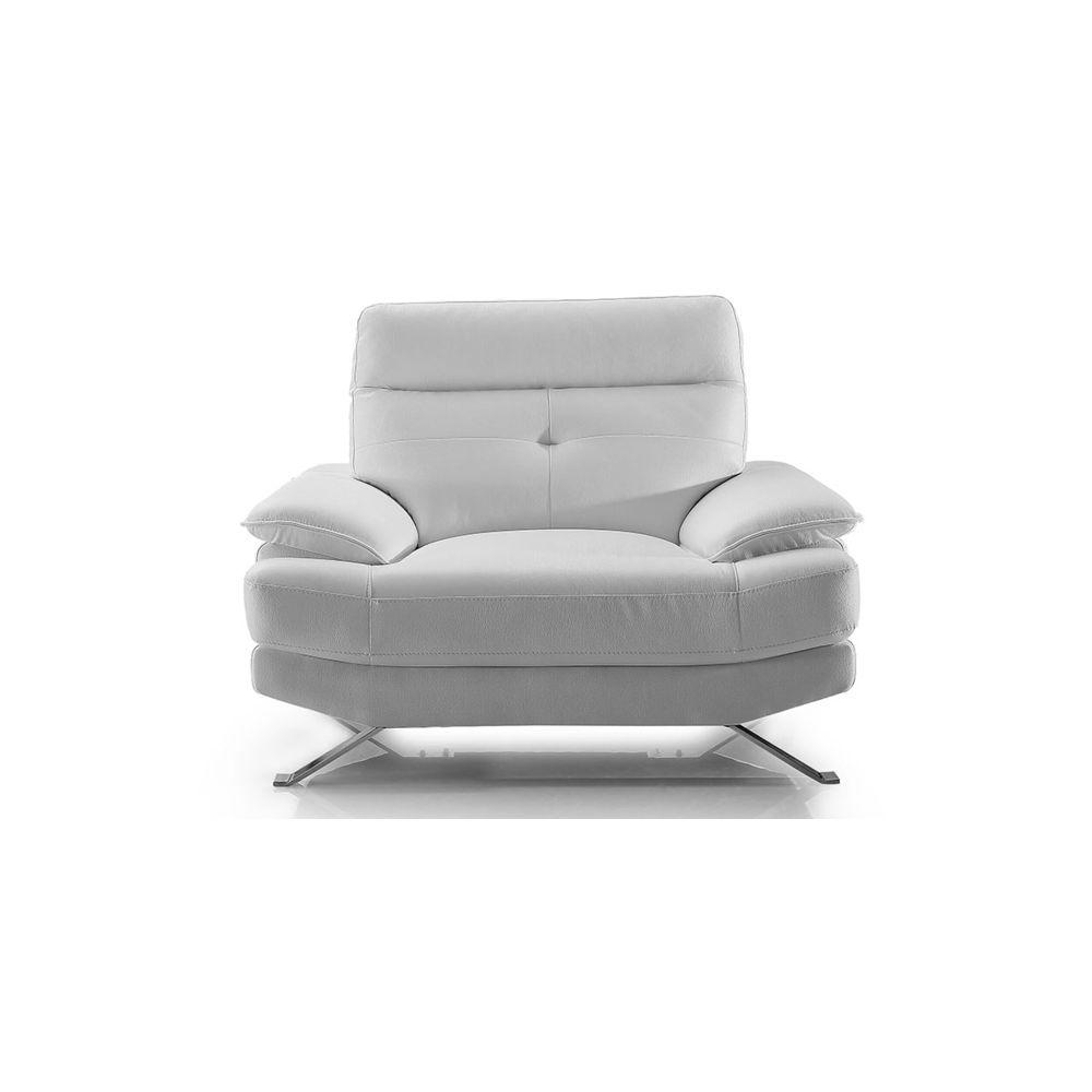 La Maison Du Canapé Fauteuil Design en cuir SYDNEY - {habillage_canape_cuir} - Blanc