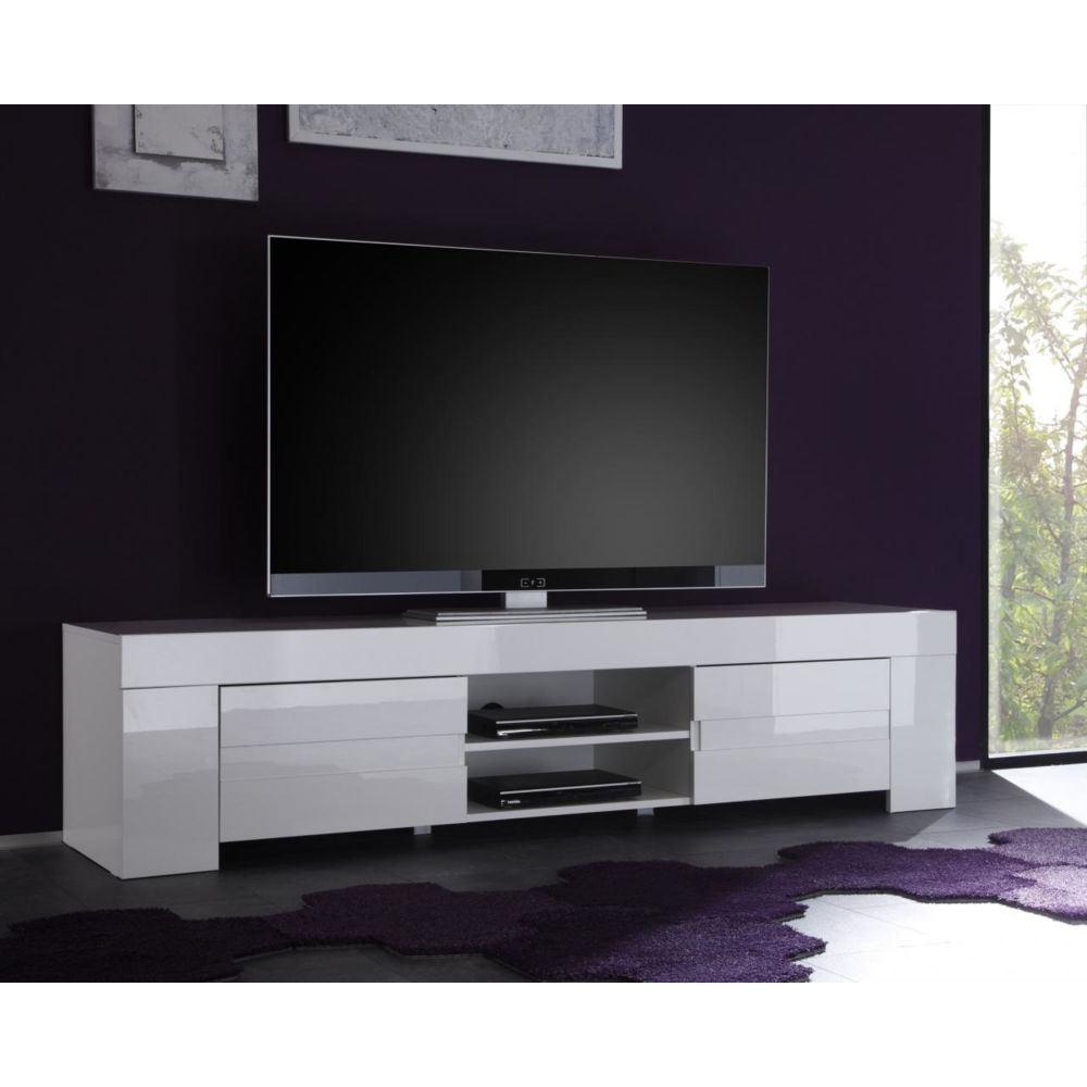 Sofamobili Meuble TV hifi blanc laqué design ESMERALDA