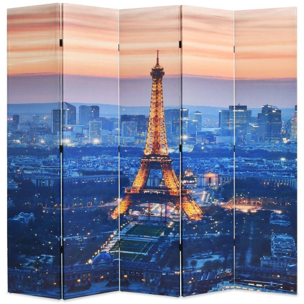 Vidaxl Cloison de séparation pliable 200x180 cm Paris la nuit   Multicolore - Séparateurs de pièces - Meubles   Multicolore   M