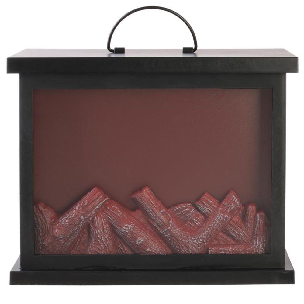 Pegane Cheminée décorative LED coloris noir - 30 x 13 x 24.5 cm -PEGANE-