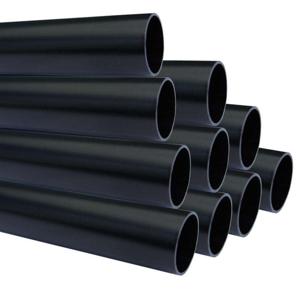 Saniverre Lot de 10_Tube aluminium anodisé longueur 200 cm Ø 30 mm Noir