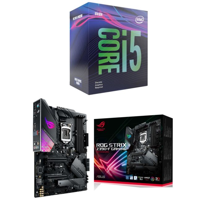 Intel - Core i5 9600K - 3,7/4,6 GHz + Intel Z390-F ROG STRIX GAMING - ATX - Kit d'évolution Intel