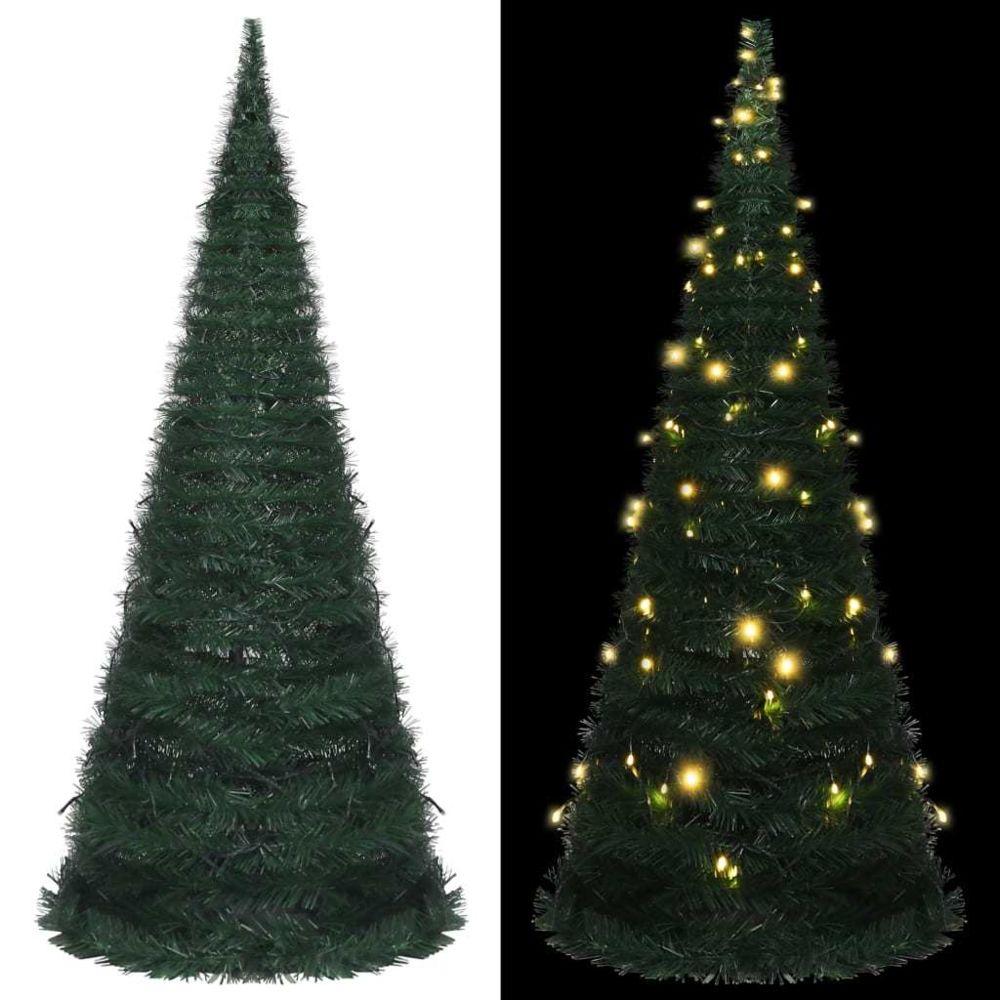 Vidaxl vidaXL Sapin de Noël artificiel avec guirlandes et LED Vert 210 cm
