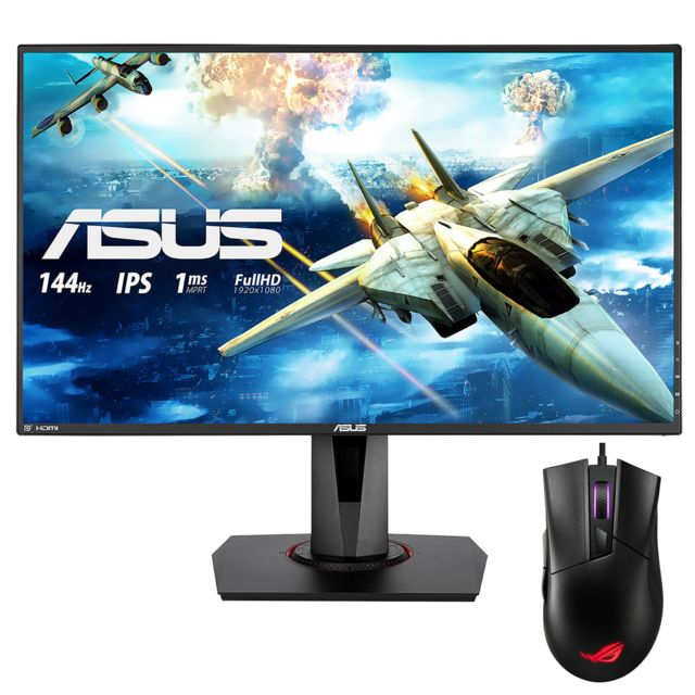 "Asus - 27"""" LED VG279Q + GLADIUS CORE II - Souris Gaming - Moniteur PC 144 hz"