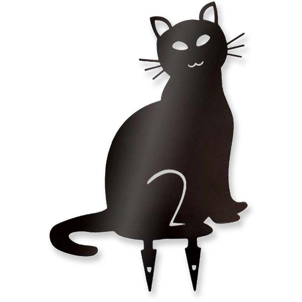 Beaujardin Chat décoratif en acier coloré sur pic