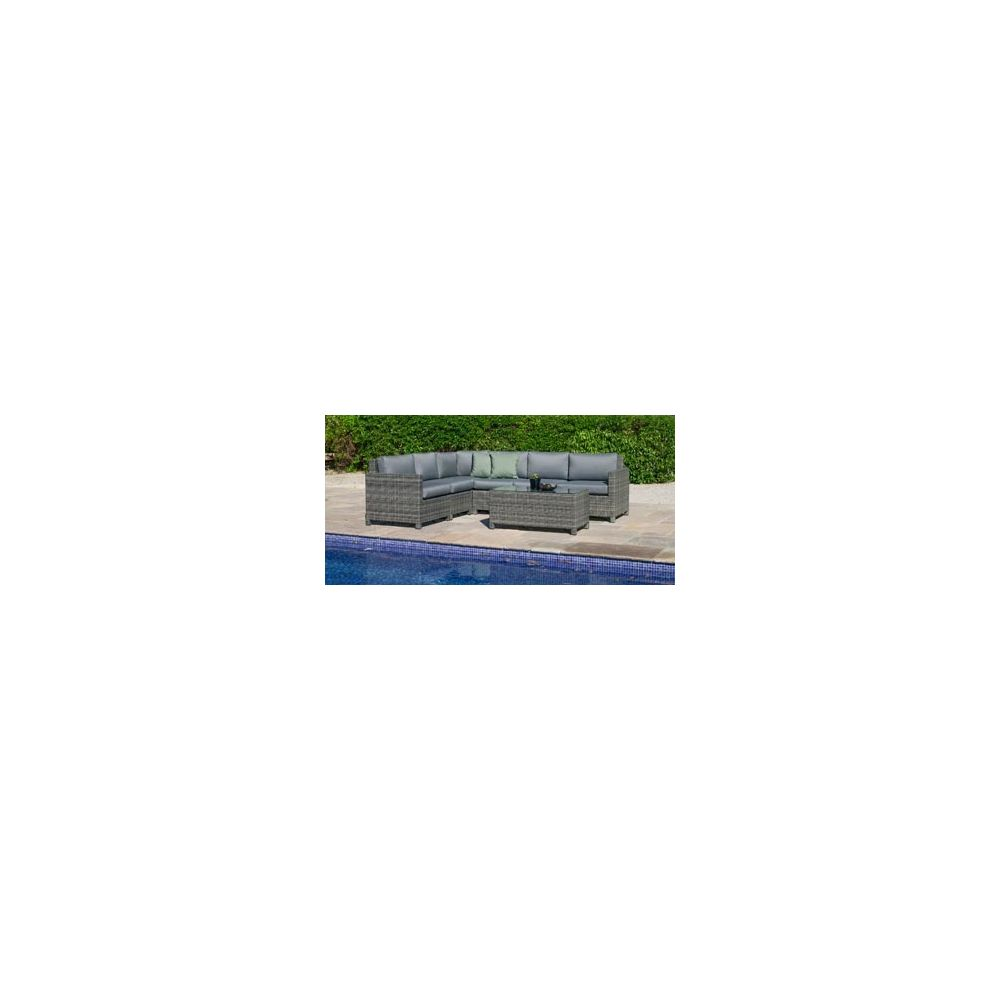 Hevea Hevea Salon De Jardin Sofa FLORE en ACIER Resine tressee grise Coussins couleur GRIS SARA HEV31888