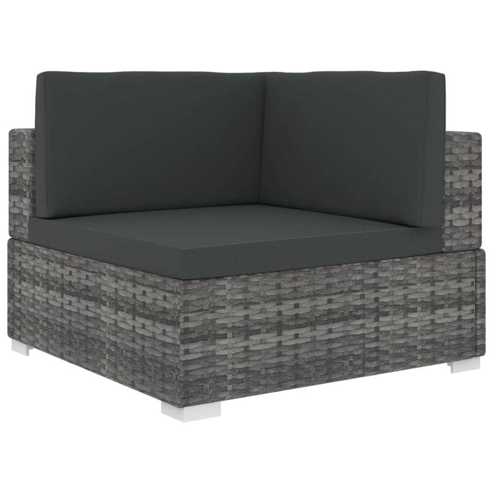Vidaxl vidaXL Chaise d'angle sectionnelle avec coussins Résine tressée Gris