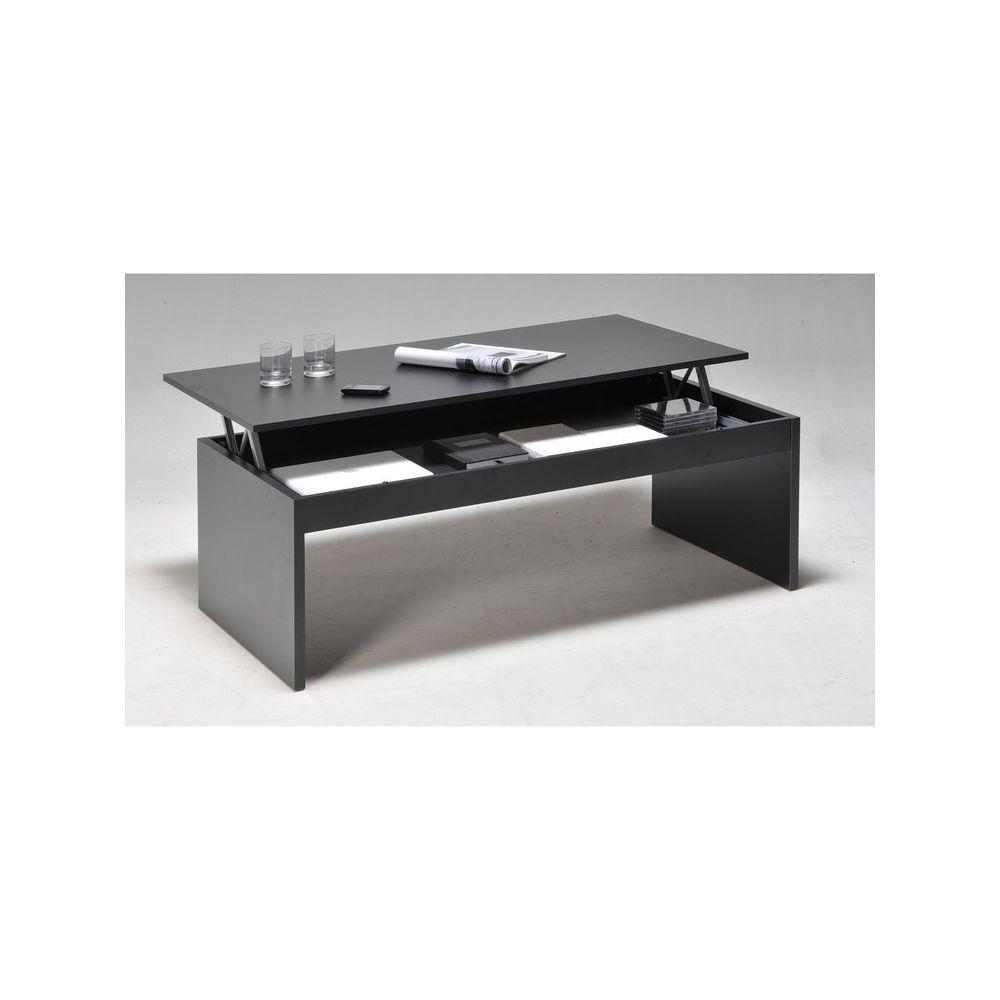 Weber Industries Table basse relevable rectangulaire en bois noir DARWIN