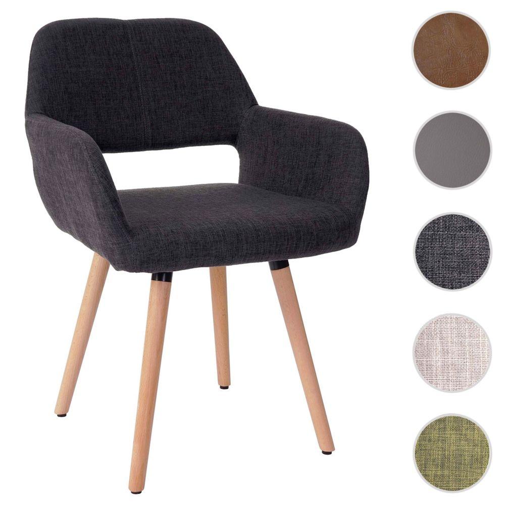 Mendler Chaise de salle à manger HWC-A50 II, fauteuil, design rétro des années 50 ~ tissu, gris foncé
