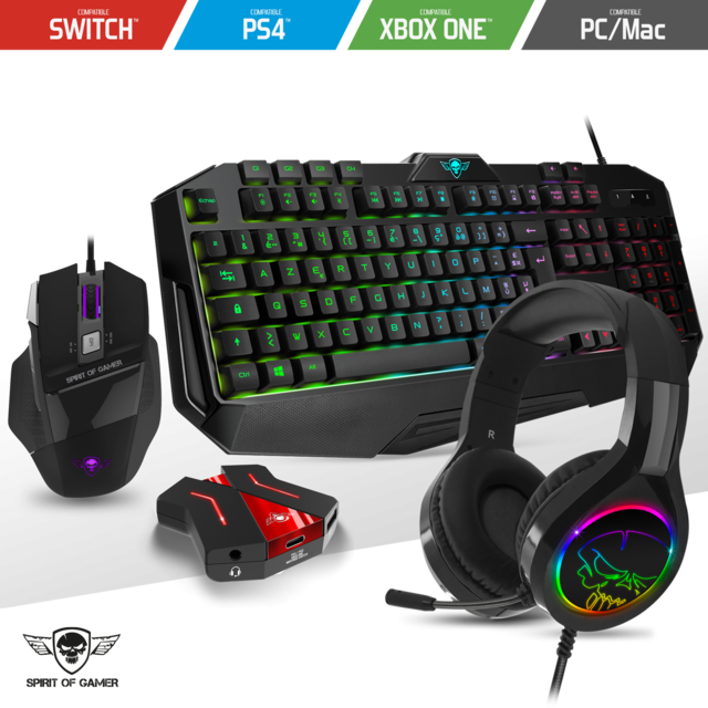 Spirit Of Gamer - Pack PRO-8 Clavier souris casque RGB gamer compatible console PS4 / Switch / Xbox one / PC - Clavier Souris Spirit Of Gamer
