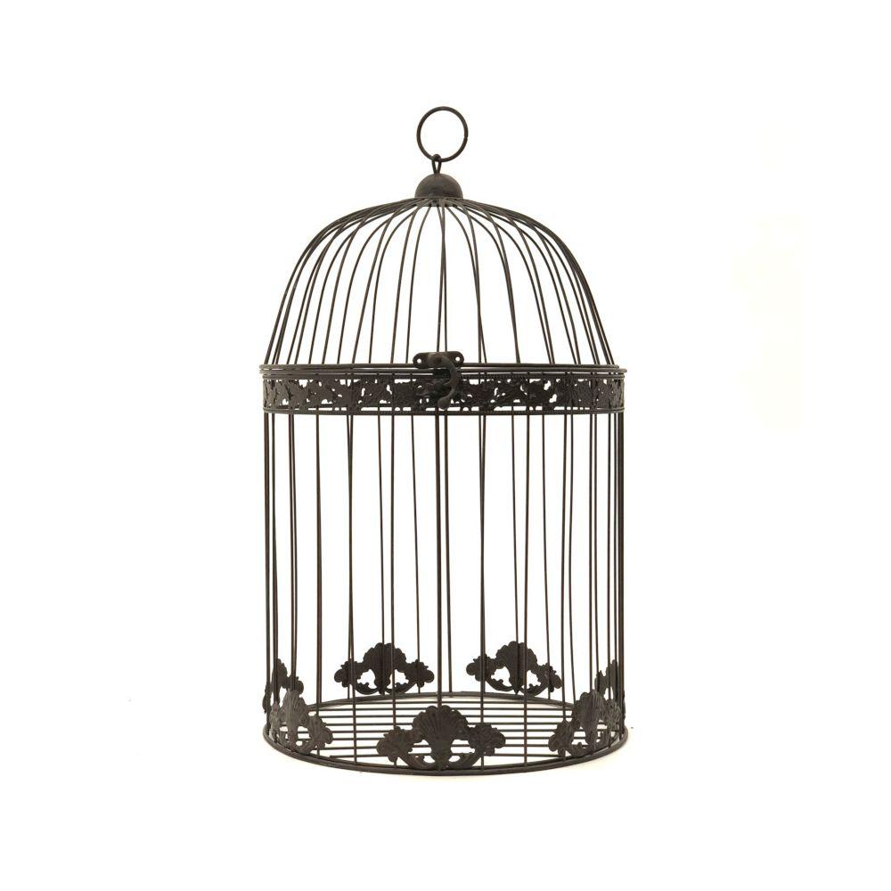 L'Originale Deco Grande Cage Oiseaux Ronde Décoration Marron 50 cm x ø30 cm