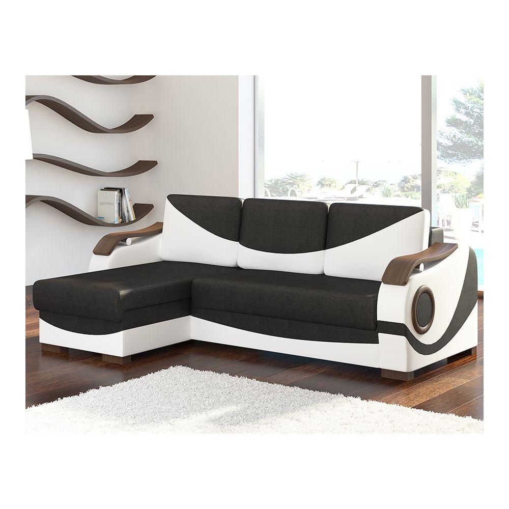 Kasalinea Canapé d'angle gauche convertible noir et blanc LINO