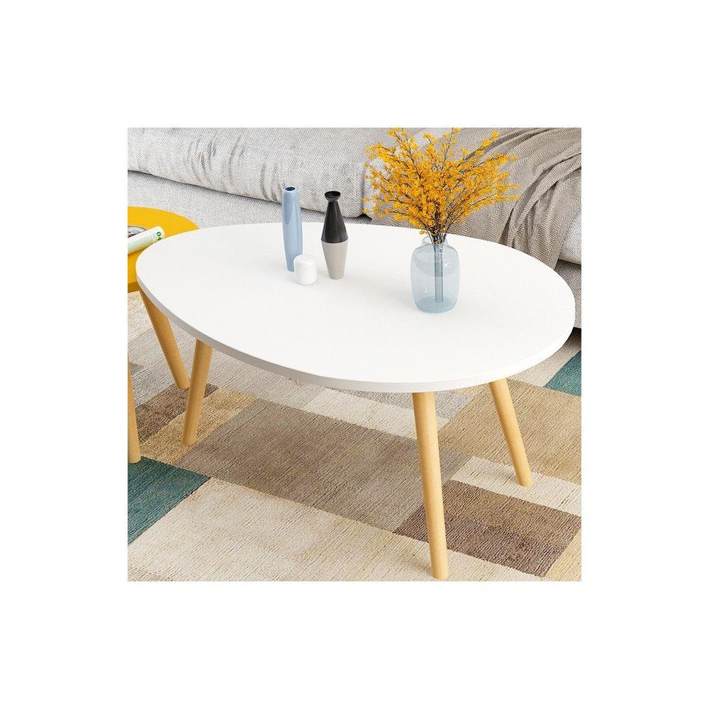Wewoo Tables de café Meubles de Table basse ovale en bois massif avec de chevet et d'appoint bureau blanc 90x50x42cm