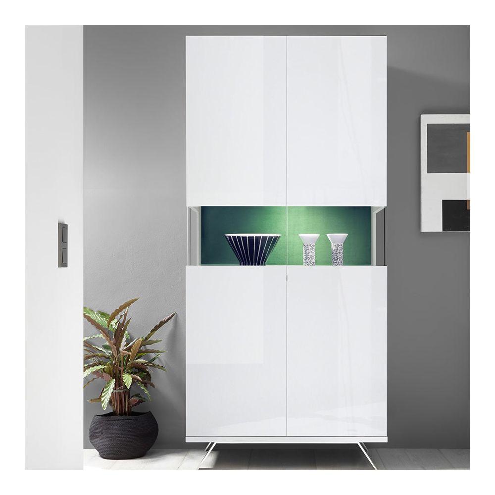 Kasalinea Vaisselier blanc et vert design avec LED PALERMO