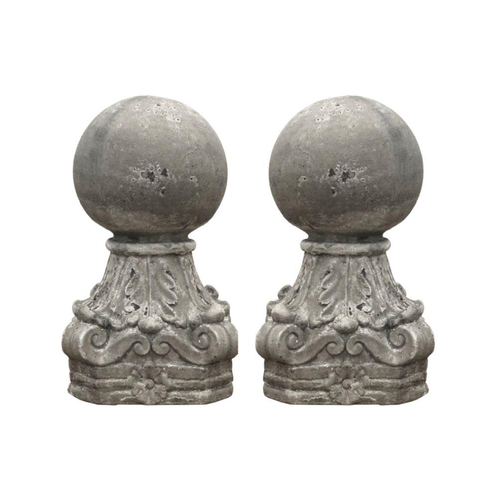 L'Originale Deco 2 Style Ancien Boules de Pilier Obélisque Epis Faîtage Terre Cuite 40 cm x ø20 cm
