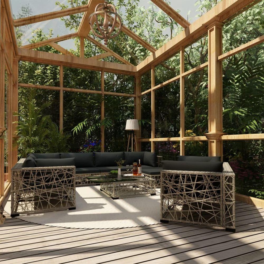 Vidaxl vidaXL Salon de jardin 10 pcs avec coussins Résine tressée Gris