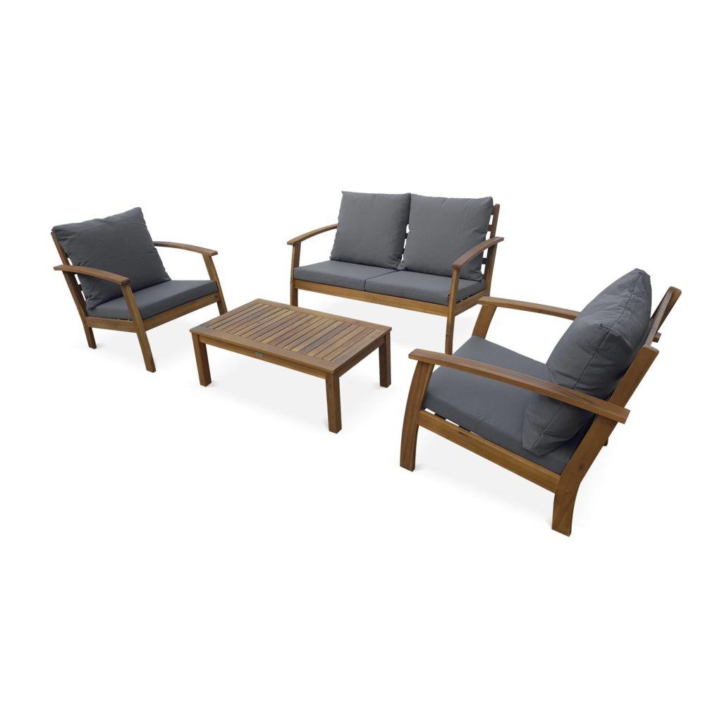 Alice'S Garden Salon de jardin en bois 4 places - Ushuaïa - Coussins Gris, canapé, fauteuils et table basse en acacia, design