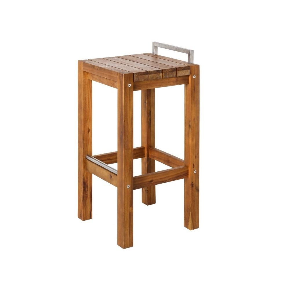 Ma Maison Mes Tendances Tabouret de jardin haut en bois et acier inoxydable NAVARRA - L 40 x l 40 x H 80