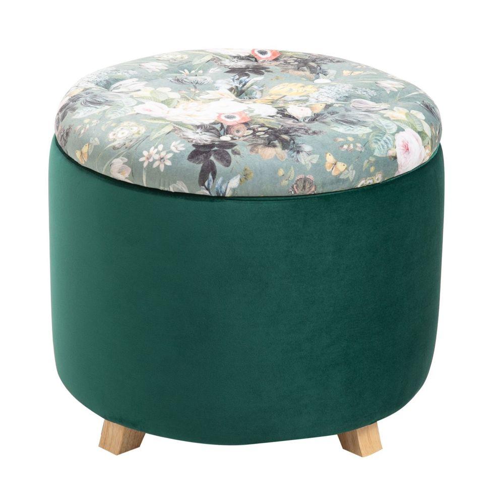 Idimex Tabouret BONITO coffre de rangement ottoman repose pieds bout de canapé pouf rond couvercle amovible motifs fleurs, en v