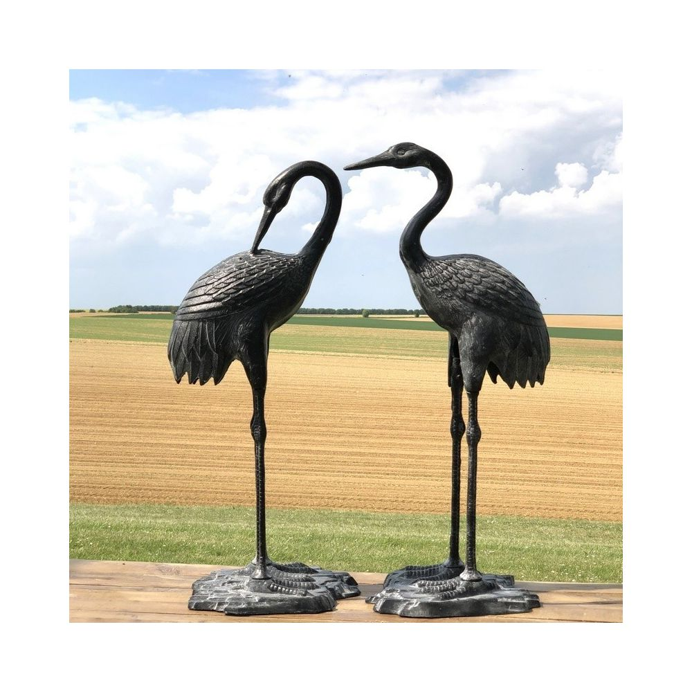Chemin De Campagne Couple de Héron Oiseaux Décoration Jardin d'Extérieur Fonte Alu Gris 75 cm x 35 cm