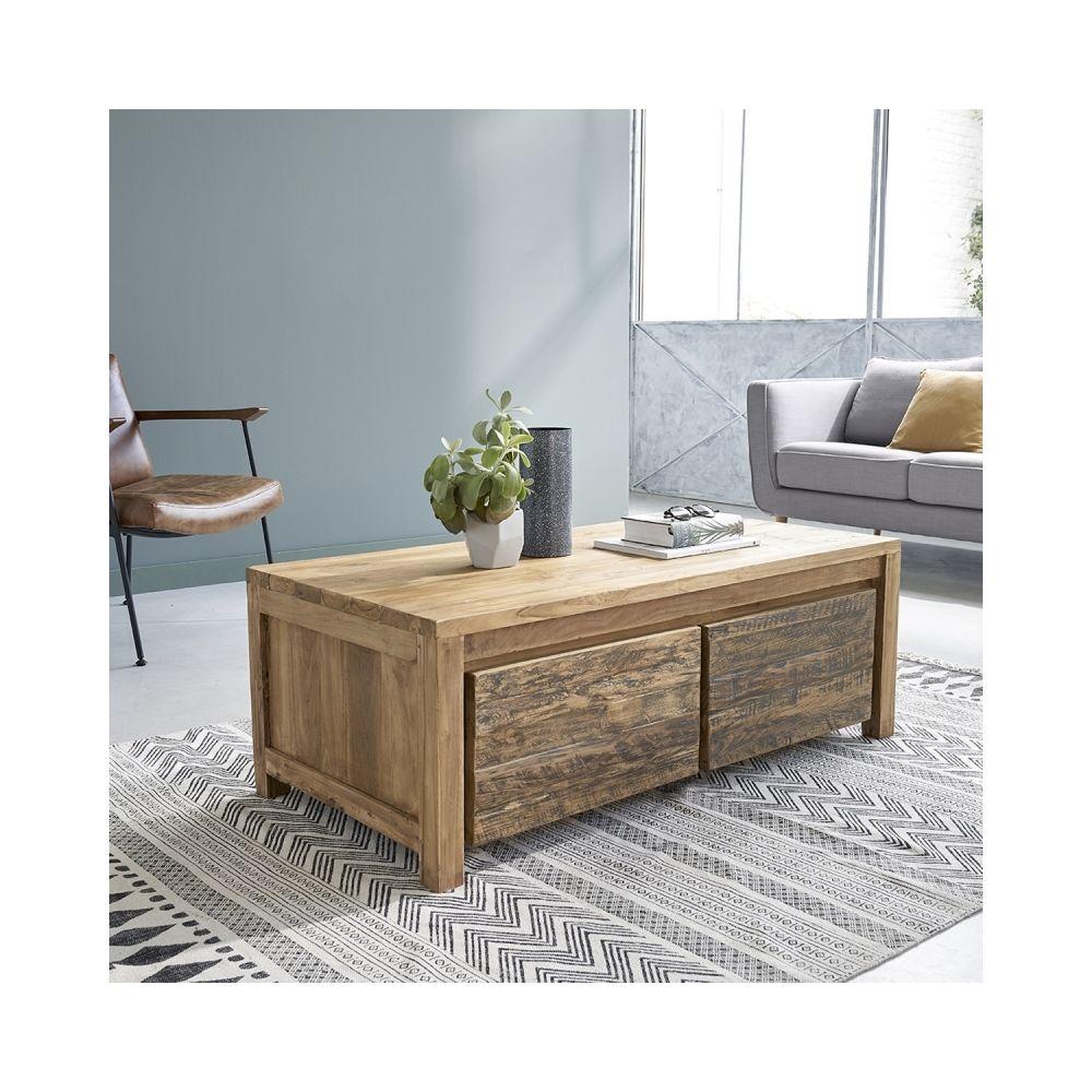 Bois Dessus Bois Dessous Table basse en bois de teck recyclé 2 tiroirs