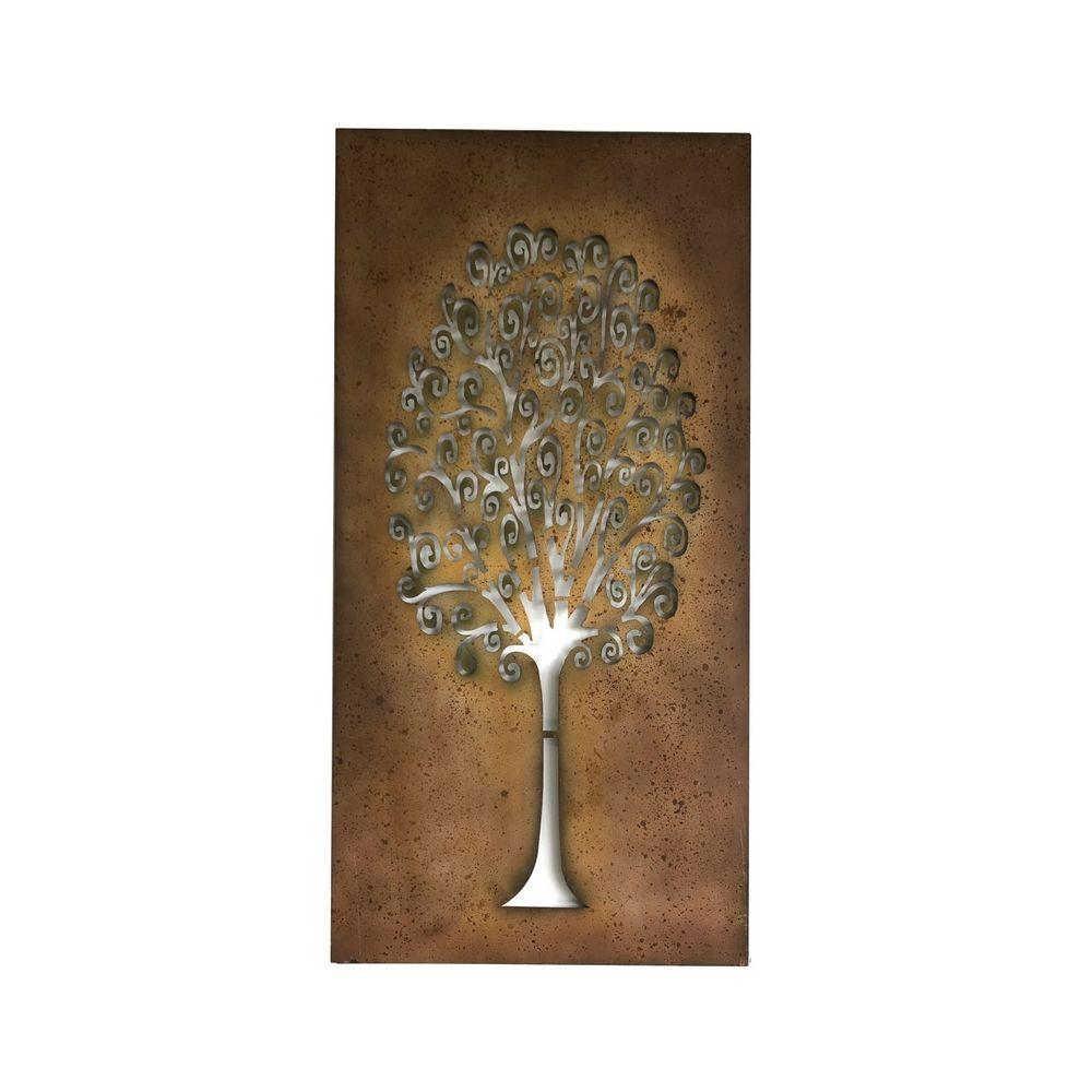 L'Originale Deco Fronton Applique Mural Style Arbre de Vie Fer Métal Arbre Colorée 125cm x 55cm
