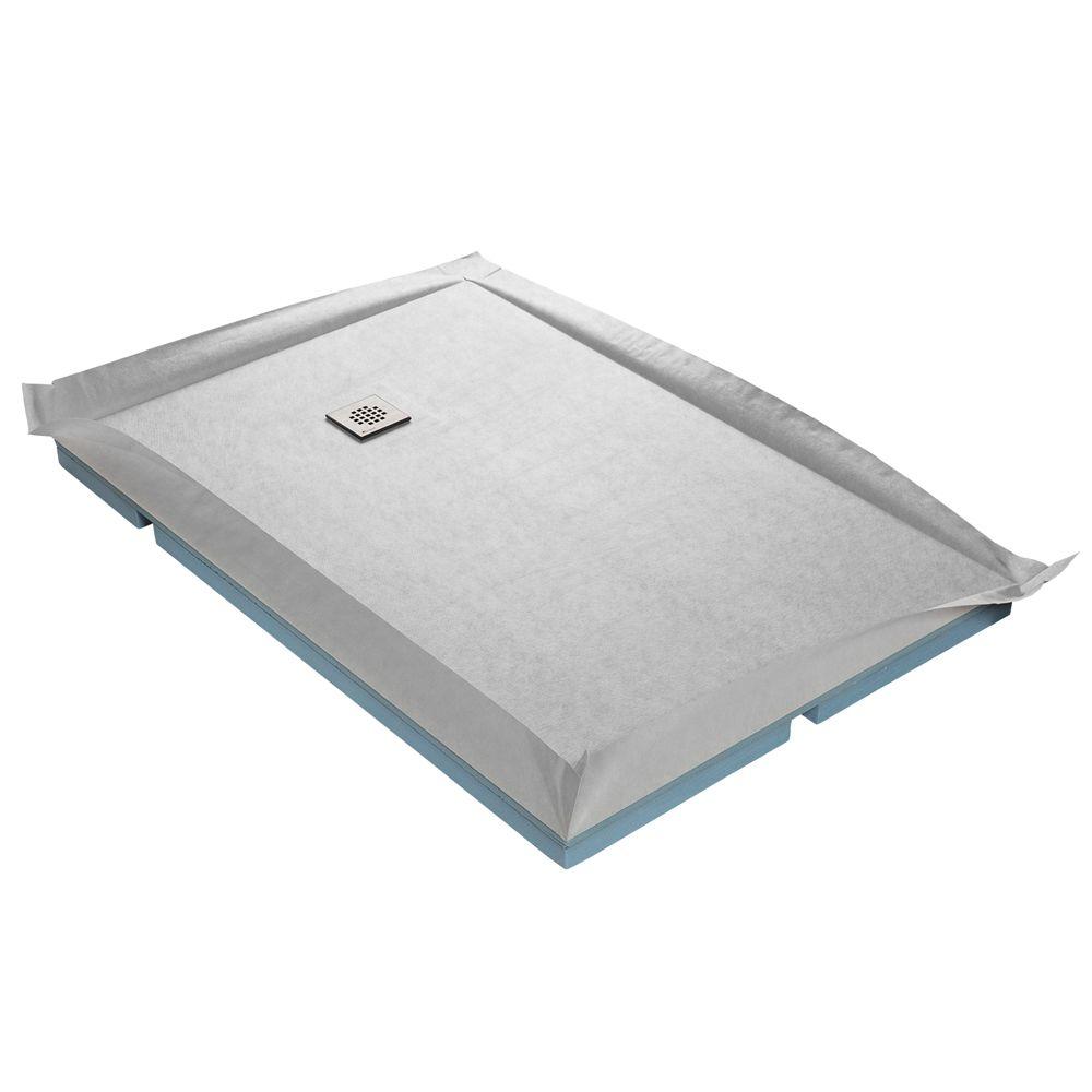 U-Tile Receveur de douche à carreler compact 90 x 90 cm x 67 mm + natte étanche + siphon ultra plat