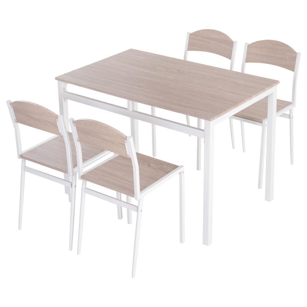 Homcom Table de salle à manger avec 4 chaises style contemporain acier blanc MDF coloris bois de chêne