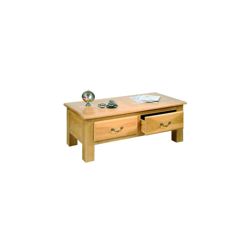 HELLIN Table basse de salon MANSART - bois chêne massif