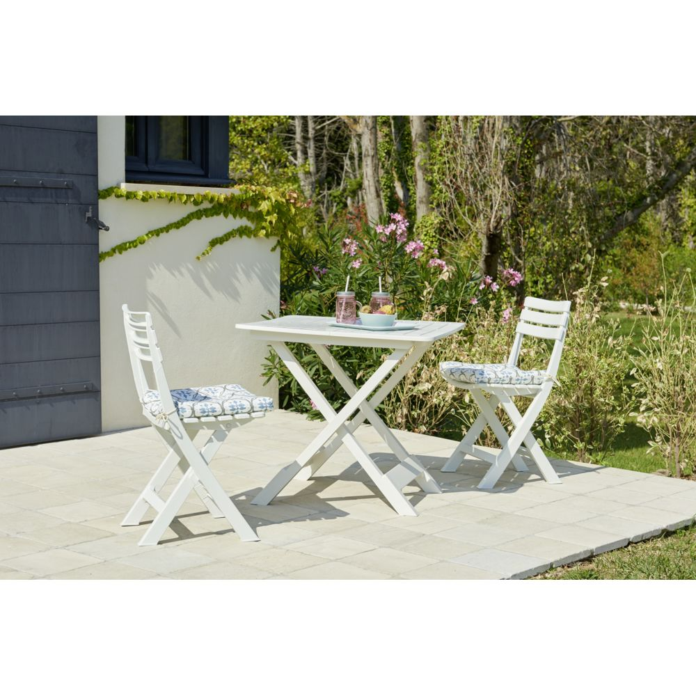 Carrefour Set Balcon 1 table + 2 chaises - Blanc