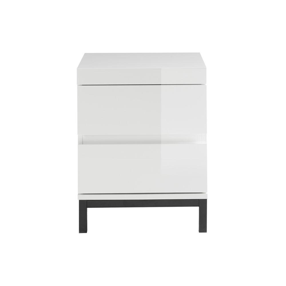 Miliboo Table de chevet design 2 tiroirs blanc laqué KOLL