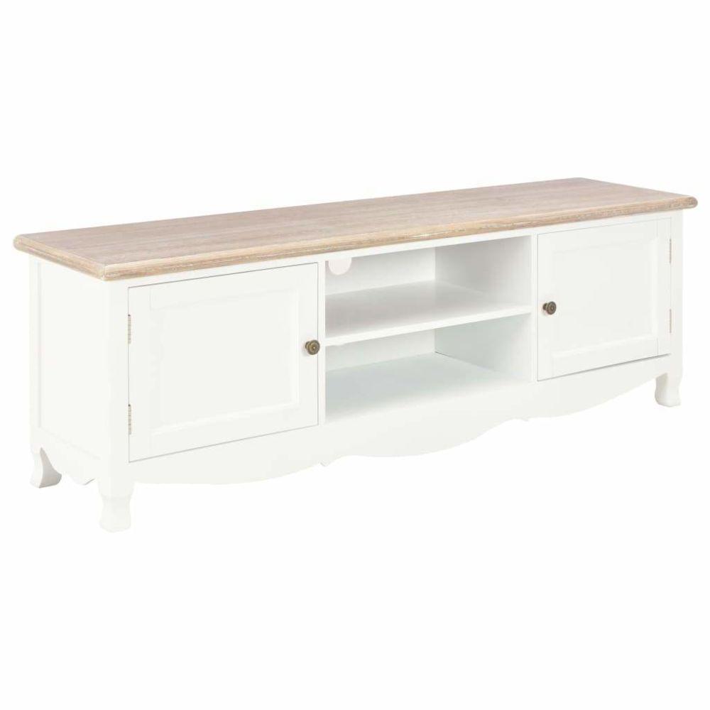 Helloshop26 Meuble télé buffet tv télévision design pratique blanc 120 cm bois 2502113