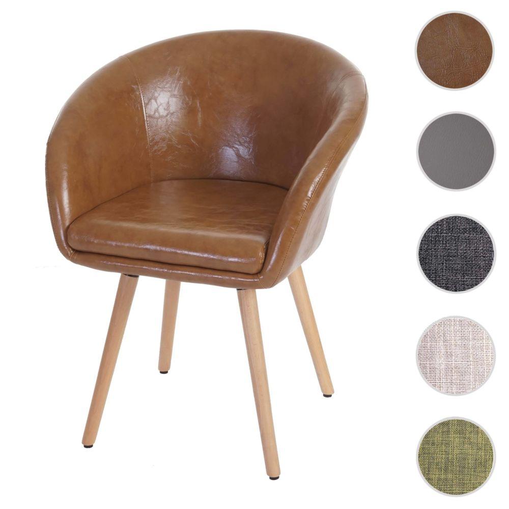 Mendler Chaise de salle à manger Malmö T633, fauteuil, design rétro des années 50 ~ similicuir, aspect daim