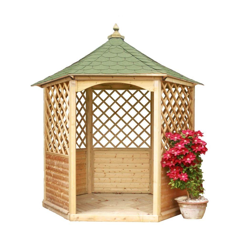 Habrita HABRITA - Pavillon de jardin hexagonal toiture en bardeau - 4,74 m²