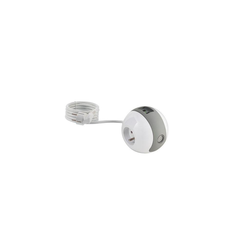 Watt & Co Multiprise compacte Watt'Ball blanc gris