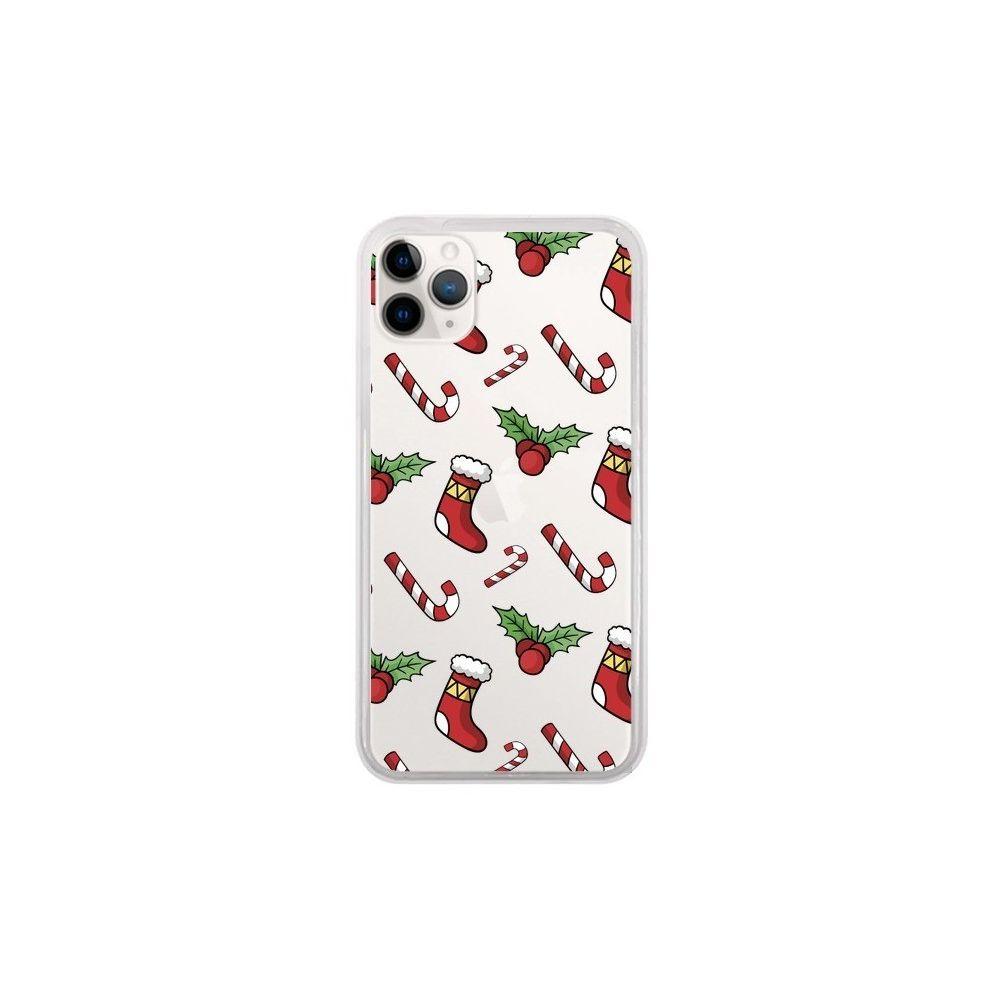 Apple - Coque iPhone 11 Pro Chaussette Sucre d'Orge Houx de Noël transparente - Nico