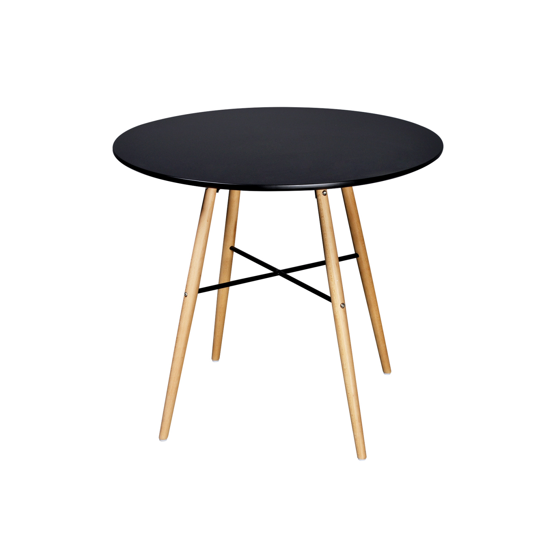 Vidaxl Table de salle à manger ronde noire mat