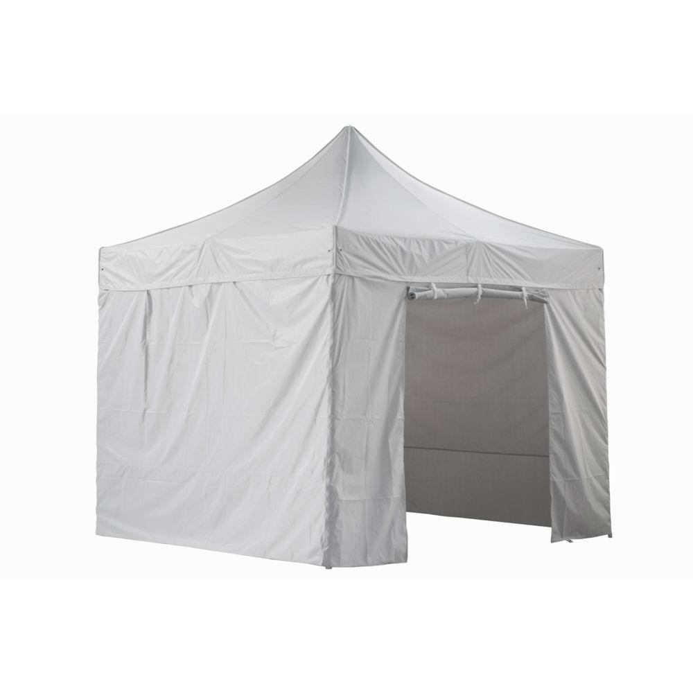 Greaden GREADEN - Tente pliante blanche avec 4 murs amovibles 3x3m SUPER - Tube 40mm en aluminium - Bâche 420D - Barnum pliante