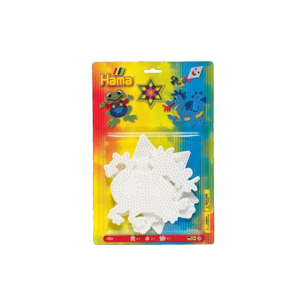 Hama Plaques pour perles à repasser Hama Midi : Grenouille/Etoile/Dragon