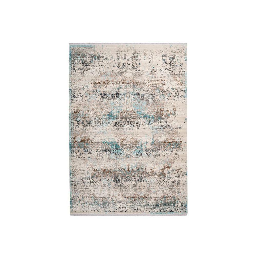 Paris Prix Tapis Oriental à Poils Courts Anouk Taupe & Turquoise - 80 x 150 cm